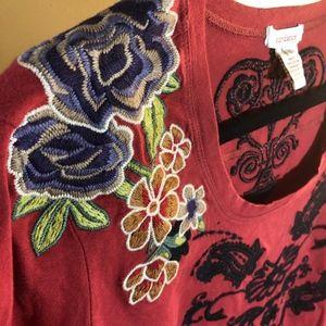 🌟 Sundance Burgundy Embroidered Top Sz L